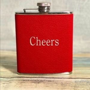 "Other - Flask:wrapped in red leather: 6 oz. ""CHEERS"" Nwot"